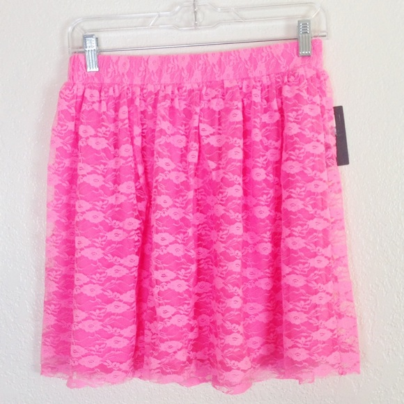 ed2461e7be4237 Urban Outfitters Skirts | Uo Pins And Needles Neon Pink Lace Skirt ...